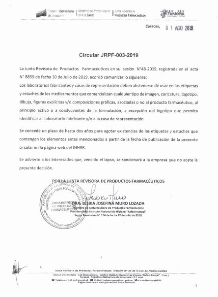 CIRCULAR JRPF-003-2019